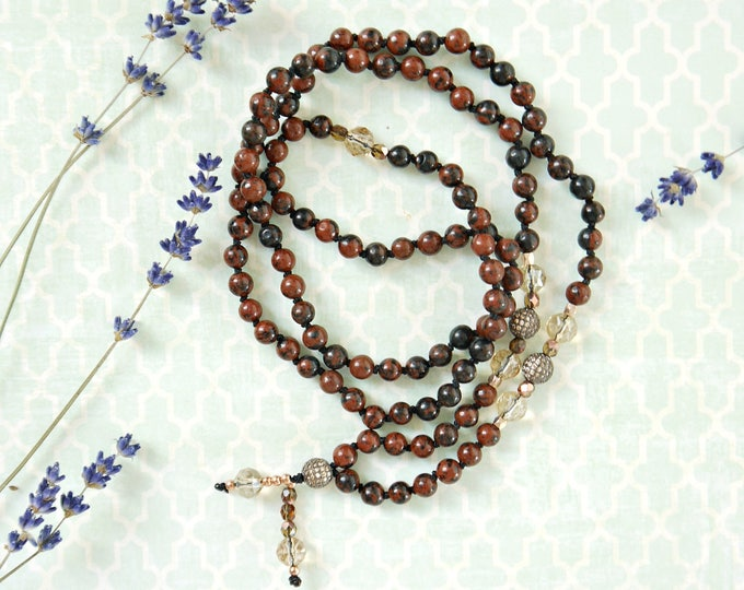 brown and black jasper handknotted mala necklace with czech glass beads and cubic zirkonia beads pendants