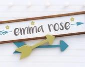 Large Baby Name Sign . Baby Girl . Boho Baby .Woodland Arrow Name Sign . Woodland Nursery Decor . Nursery Name Sign . Boho Baby