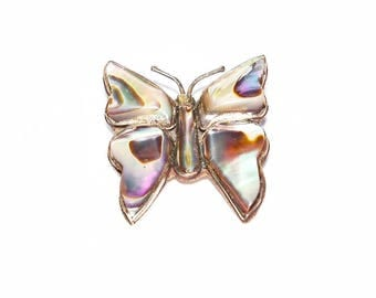 Vintage Butterfly Pin Brooch Abalone Mexican Silver Gift Guide Women Brooch Jewelry Jewellery Accessories