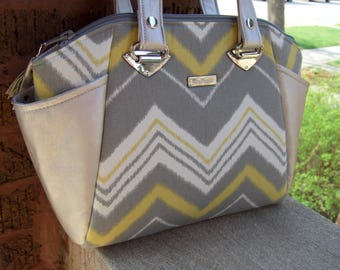Modern Ikat Chevron Handbag / Structured Purse / Lime Green and Platinum / Swoon Annette