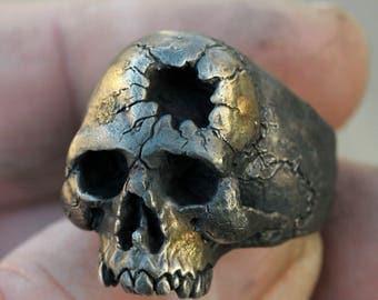 Skull Ring, Gold Skull Ring, Hammer Hole, Half Jaw, Mens Silver Skull Ring, Biker ring, Rocker ring, Goth ring,