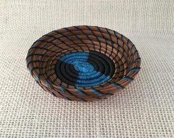 Turquoise Cutie Patootie pine needle basket
