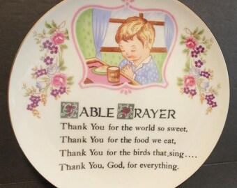Vintage Norleans Children Table Prayer Plate Dinner Prayer Plate