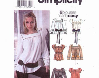 Simplicity 5798 Szs 12-18 Misses Peasant Blouses and Belt