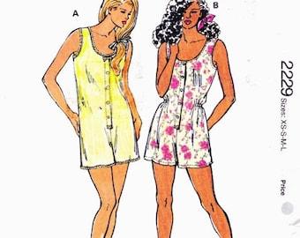 Kwik Sew 2229 Misses' Sleepwear Rompers 1992 Sizes XS-S-M-L Uncut