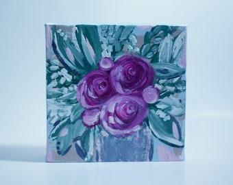 Purple Rose Bouquet Painting, Original Artwork, Floral Arrangement Acrylic Painting on 6 inch Square Canvas