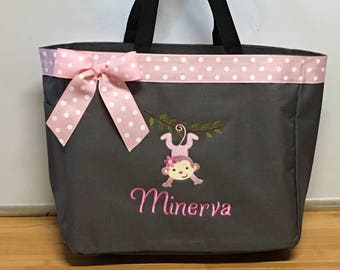 Personalized Pink Monkey on Vine Girl Tote Bag Baby Diaper Bag