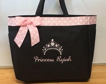 Personalized Baby Girl Princess Crown Tiara Diaper Bag Tote
