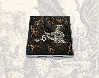 Silver Dragon Metal Pill Box Inlaid in Hand Painted Black Enamel Game of Thrones Inspired Square Medicine Case with Personalized Options