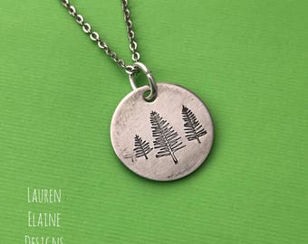 Pine Tree Necklace- Hand Stamped Aluminum, Copper, or Brass Charm Necklace