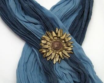 Bronze and Copper Sunflower Brooch, Handmade Mixed Metal Brooch, Copper and Bronze, Sunflower Jewelry, Sunflower Lover, Kansas State Flower