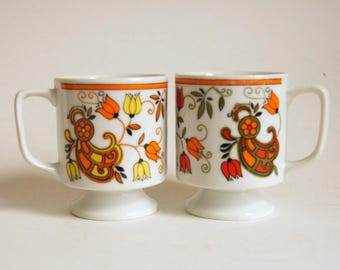 Vintage Pottery Mug, Tulip Mug, Retro Coffee Cup, Pedestal Mug, Coffee Mug, Mod Tulip Design