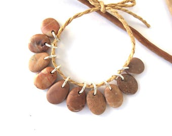 Beach Stone Beads Natural Stone Charms Top Drilled Mediterranean Diy Jewelry Rock Beads Stone Pairs Brown Copper CARAMEL MIX 16-18 mm