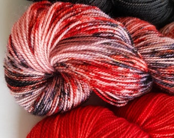Hand Dyed Hand Painted Sock Merino 4ply Shawl Set Art Yarn 'Midnight Red'