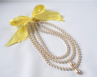 SHIPPING DELAY SALE 10% Triple Strand 18th Century Pearl Necklace, Georgian Pearls, Reproduction Jewelry, 18th Century Jewelry, Rococo Neckl