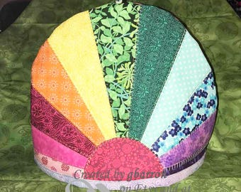Rainbow Dresden Plate Quilted and Insulated Tea Cozy