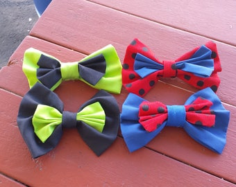 Ladybug and Cat Noir Inspired Bows