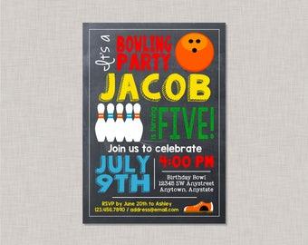 Bowling Invitation, Bowling Party Invitation, Bowling Birthday Invitation, Bowling Birthday Party Invitation, Bowling Birthday Party