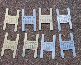 Vintage 1974 Metal Calendar Inserts, Desk Calendar Inserts, Clips, Year 1974, Jewelry Making, Crafts, FREE Domestic Shipping
