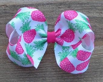 Pineapple Hair Bow~Boutique Hair Bow~Medium/Large Boutique Bow~Pink Pineapple Boutique Bow~Summer Boutique Bow~Boutique Hair Bow