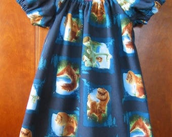 Clearance Girls Summer Peasant Dress - Blue Brown Green - Dinosaurs - Size 6M to Size 14 - Made to Order