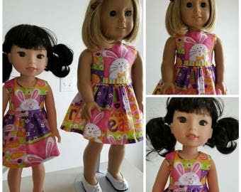 Easter Bunny Dress for American Girl and Wellie Wisher Dolls