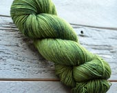 Hand Dyed Superwash Merino Wool and Nylon Yarn - Fingering sock weight - Shaded Moss