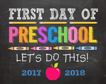 First Day of Preschool Sign, First Day of Preschool Sign Girl, First Day of Preschool Printable, DIGITAL, First Day of Preschool
