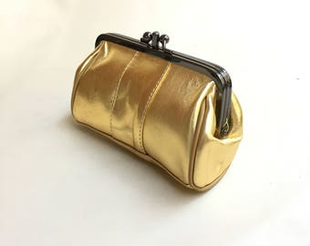 Leather purse in GOLD. Evening clutch in golden leather. Cosmetics bag, romantic purse , clip purse, small bag in gold.