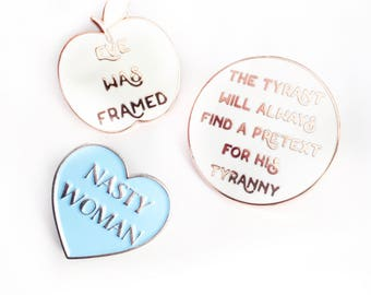 SET of Three Pins Eve was Framed Nasty Woman Tyrant Trio Enamel Lapel Pins Heart  // ready to ship, feminist feminism women's rights