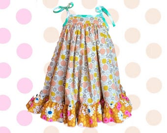 Twirl Floral Madison, Summer Girl Dress, Top, Neon, Spring Floral, Sister Dress, Best Friend | 2T - 8 | Free Shipping, Yellow