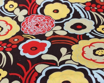 Brown, Yellow Red Flower Motif Cotton Fabric designed by Art Gallery. Quilting Fabric, Summer Dresses, Purses, Totes, Aprons, Nursing Cover