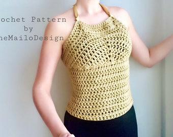 Easy Crochet Pattern / Crochet Top Pattern / Crochet Halter Top Pattern / Crochet Women  / Crochet Top Pattern
