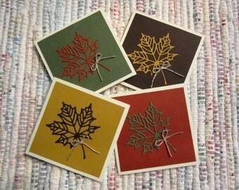 Fall Leaf Mini Cards  Set of 4