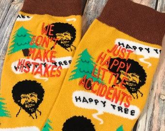 Bob Ross - Anniversary Gift - Birthday gift for men - Groom Socks - Mens Dress Socks - happy little accidents - Bob Ross Gift - Gift for Men
