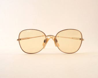 Vintage 1970s Eye Glasses Yellow Prescription Lenses Wire Rims Charmant Japan