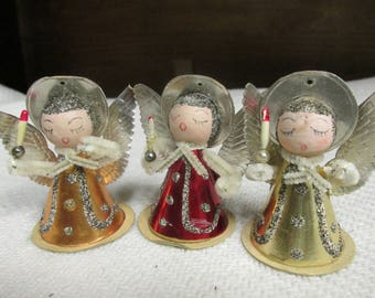 3 Made in Japan Angels with candle holders