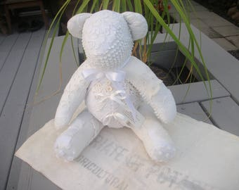 Vintage Linens White Teddy Bear