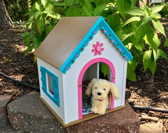 American Girl Doll pets: Wellie white  dog house, with pink and aqua trim large size