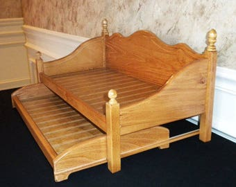 American Girl Doll Trundle bed Furniture stained oak daybed with trundle. Last one.