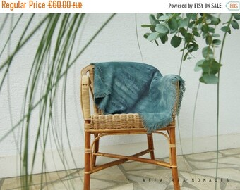 ON SALE Boho fringe multiple use throw hand dyed. Throw for couch. Blanket. Place mat. linen table mat. Wall hanging art.  Emerald green. te