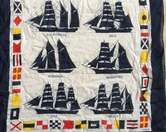 Vintage Kreier sailboats ships nautical bandana scarf