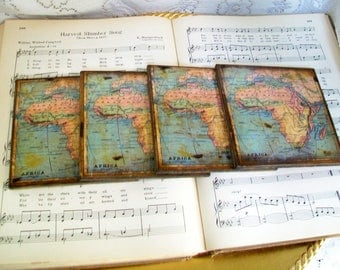 Map Coasters, Africa Historical Wooden Map Coasters, Old World Map, Africa, Gold Stained & Antiqued Map Set of 4, Decoupage Map Coasters