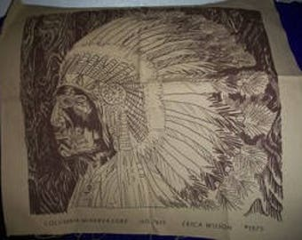 Indian Chief Stamped Fabric to Embroider
