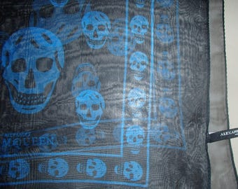 ALEXANDER MC QUEEN Silk Scarf/ Blue in Black Skull Scarf/ Rare McQueen In Blue/ Rip To The Greatest/ Designer Celebrity Extra Large Scarf