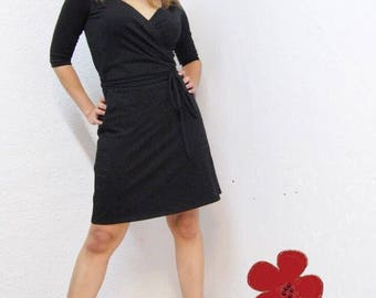 Black Dresses, All year Fashion, Black Wrap Dress, 3/4 sleeves, Classic Dresses, Jersey, Wrap Around, Little Black Dress