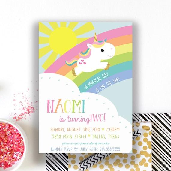 Unicorn Rainbow Birthday Invitations Unicorn Invite Girl Bday