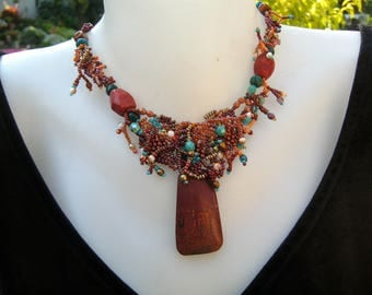 Jasper necklace, Brown necklace Gift for women Gift for wife Statement necklace Birthday gift Boho necklace Freeform beadwork
