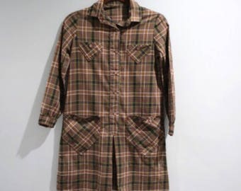 Vintage Brown Plaid Shirt Dress Big Girls Size 10 Pleated Front Button Front