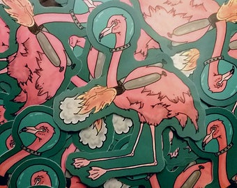 Pink Space Flamingo Astronaut Vinyl Sticker